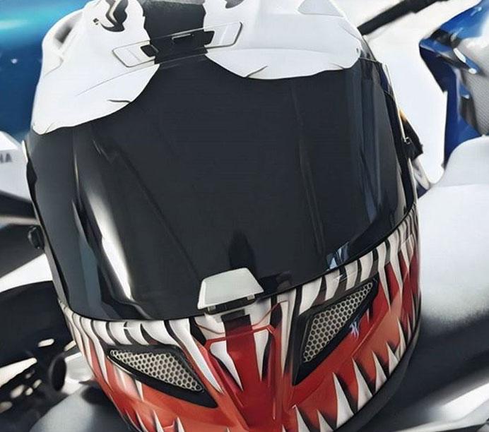 Casque HJC RPHA 11 Venom, un casque Marvel qui a du mordant.